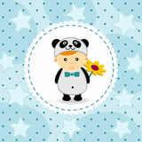 Baby boy in suit of panda Royalty Free Stock Image