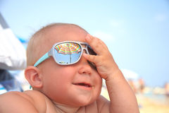 Baby boy with sunglasses Royalty Free Stock Image