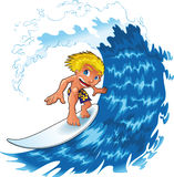 Baby boy surfing. On a  big wave, vector illustration Royalty Free Stock Image