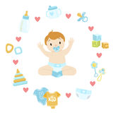 Baby Boy Surrounded With Object It Needs Stock Image