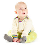 Baby boy in sweater. Baby boy on white background stock photography