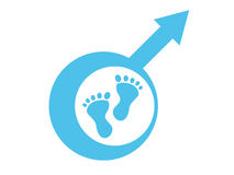 Baby boy male symbol and footprint Stock Photography