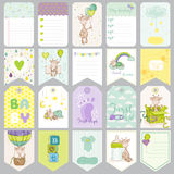 Baby Boy Tags. Baby Banners. Scrapbook Labels. Cute Cards Royalty Free Stock Photo
