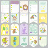 Baby Boy Tags. Baby Banners. Scrapbook Labels. Cute Cards Stock Photos