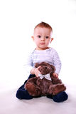 Baby boy with teddy bear Royalty Free Stock Photography
