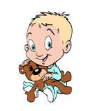 Baby boy with teddy bear Stock Images