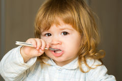 Baby boy with teeth brush Royalty Free Stock Photos