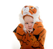 Baby boy in tiger costume Royalty Free Stock Photography