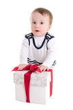 Baby boy toddler with gift box isolated on white Stock Image