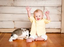 Easter Boy and Bunny stock images