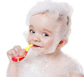 Baby boy with toothbrush Stock Photography