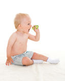 Baby boy with toothbrush. Stock Photo