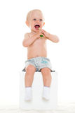 Baby boy with toothbrush. Royalty Free Stock Photos