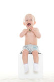 Baby boy with toothbrush. Stock Images