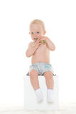 Baby boy with toothbrush. Stock Image