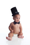 Baby Boy with Top Hat and Bow Tie Stock Photography