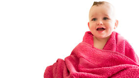 Baby boy in the towel. Baby boy wrapped in the towel after bath stock photos