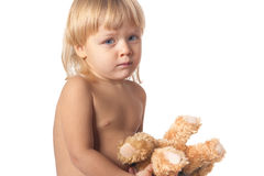 Baby boy and toy Stock Photos