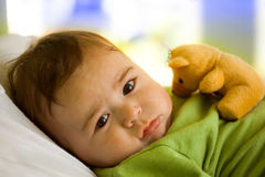 Baby boy with toy bear stock photography