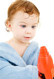 Baby boy with toy drill Royalty Free Stock Photography
