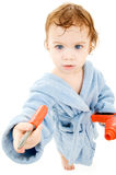 Baby boy with toy tools Stock Photos