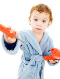 Baby boy with toy tools Royalty Free Stock Image
