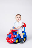 Baby boy with a toy truck Royalty Free Stock Images