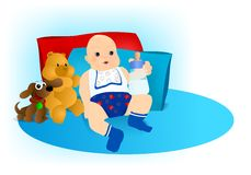 Baby boy with toys, cdr vector Royalty Free Stock Photo
