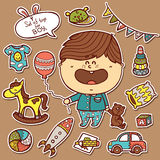 Baby boy toys stickers set. Royalty Free Stock Photos