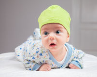Baby boy at tummy time. 2 months baby boy doing tummy time at home Royalty Free Stock Photography