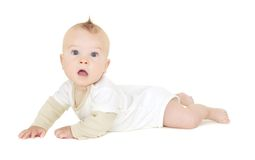 Baby Boy Tummy Time, Crawling. On white background (not pure white stock photo