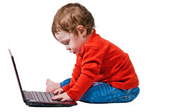 Baby boy typing Alt-Ctrl-Del on laptop. Isolated Cute baby with a red laptop Stock Image
