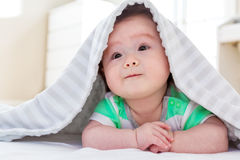 Baby boy under the blanket Stock Photo
