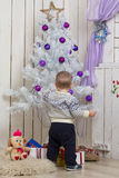 Baby boy under Christmas fir tree royalty free stock images