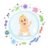 Baby boy under shield. Sitting and under protect from germs royalty free illustration