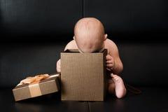 Baby boy unpacking surprise box Stock Photo
