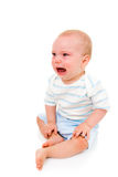 Baby boy: upset. Baby boy, crying (8 months old) (he was super happy again a moment later Royalty Free Stock Photos