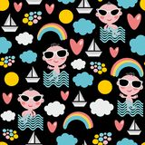 Baby boy on vacation seamless pattern. Stock Photo