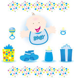 Baby Boy Vector. Cute baby boy shower elements Stock Photo