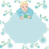 Baby boy vector card with text frame. Eps 10 Stock Images