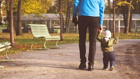 Baby boy walking in the park royalty free stock image