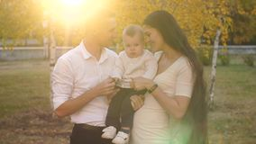 Happy family with little baby stock video footage