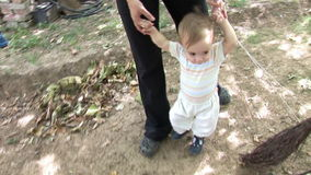 Baby Boy Walking - Steady-Cam Iii. Baby Boy Learning To Walk (Steady-Cam Used stock video
