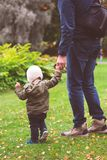 Baby boy walking in the park with his father Stock Photos