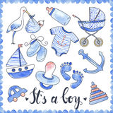 Baby Boy Watercolor Elements Set Royalty Free Stock Photos