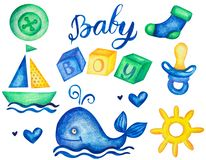 Baby boy watercolor hand drawn elements set with calligraphic title dummy whale and sailboat isolated illustration royalty free illustration