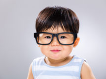 Baby boy wear glasses Stock Photos