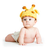 Baby boy weared giraffe hat. Infant baby boy weared giraffe hat stock photos