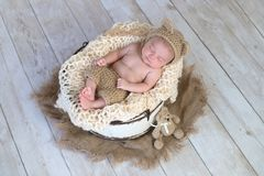 Baby Boy Wearing a Bear Hat. Six week old baby boy wearing a beige, crocheted, bear bonnet and shorts. He is sleeping in a rustic wooden bucket. Shot in the stock images