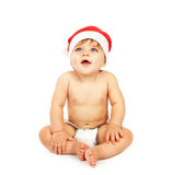 Baby boy wearing christmas hat Royalty Free Stock Photos